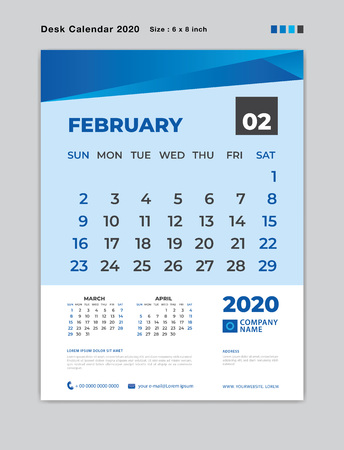 February 2020 Month template, Desk Calendar for 2020 year, week start on sunday, planner, stationery, Blue Concept, vertical layout vector, business printing design
