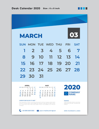 March 2020 Month template, Desk Calendar for 2020 year, week start on sunday, planner, stationery, Blue Concept, vertical layout vector, business printing design Standard-Bild - 124250579