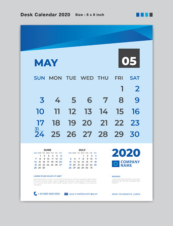 May 2020 Month template, Desk Calendar for 2020 year, week start on sunday, planner, stationery, Blue Concept, vertical layout vector, business printing design Standard-Bild - 124250580