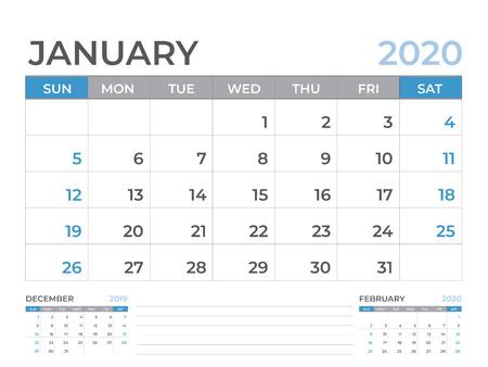 January 2020 Calendar template, Desk calendar layout  Size 8 x 6 inch, planner design, week starts on sunday, stationery design, vector Eps10