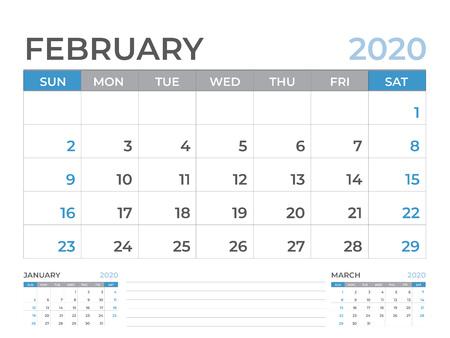 February 2020 Calendar template, Desk calendar layout  Size 8 x 6 inch, planner design, week starts on sunday, stationery design, vector Eps10