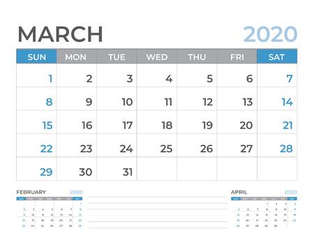 March 2020 Calendar template, Desk calendar layout  Size 8 x 6 inch, planner design, week starts on sunday, stationery design, vector Eps10
