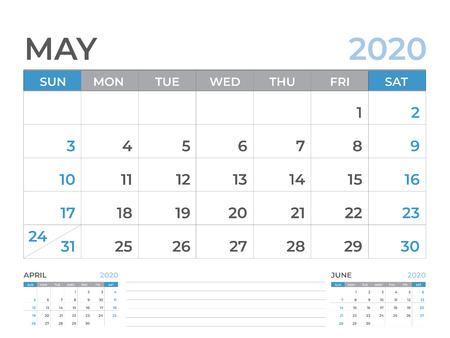 Modello di calendario di maggio 2020, layout del calendario da tavolo Dimensioni 8 x 6 pollici, design del pianificatore, inizio settimana di domenica, design di cancelleria, vettoriale Eps10