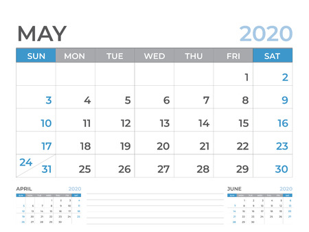 Plantilla de calendario de mayo de 2020, diseño de calendario de escritorio tamaño 8 x 6 pulgadas, diseño de planificador, la semana comienza el domingo, diseño de papelería, vector Eps10