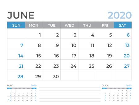 June 2020 Calendar template, Desk calendar layout  Size 8 x 6 inch, planner design, week starts on sunday, stationery design, vector Eps10