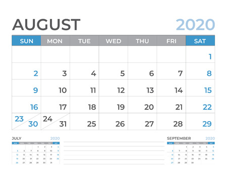 Plantilla de calendario de agosto de 2020, diseño de calendario de escritorio tamaño 8 x 6 pulgadas, diseño de planificador, la semana comienza el domingo, diseño de papelería, vector Eps10 Ilustración de vector