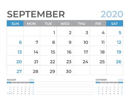 September 2020 Calendar template, Desk calendar layout  Size 8 x 6 inch, planner design, week starts on sunday, stationery design, vector Eps10