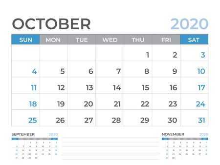 October 2020 Calendar template, Desk calendar layout  Size 8 x 6 inch, planner design, week starts on sunday, stationery design, vector Eps10