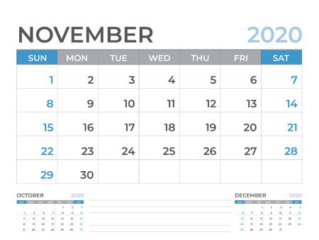 November 2020 Calendar template, Desk calendar layout  Size 8 x 6 inch, planner design, week starts on sunday, stationery design, vector Eps10