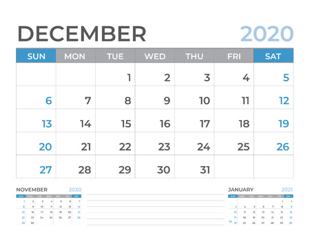 December 2020 Calendar template, Desk calendar layout  Size 8 x 6 inch, planner design, week starts on sunday, stationery design, vector Eps10 Ilustração