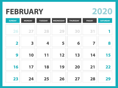 Desk calendar layout  Size 8 x 6 inch, February 2020 Calendar template, planner design, week starts on sunday, stationery design, vector Eps10