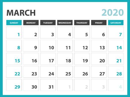 Desk calendar layout  Size 8 x 6 inch, March 2020 Calendar template, planner design, week starts on sunday, stationery design, vector Eps10 Ilustração