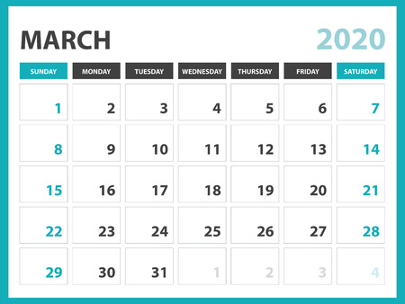 Desk calendar layout  Size 8 x 6 inch, March 2020 Calendar template, planner design, week starts on sunday, stationery design, vector Eps10 Standard-Bild - 120660232