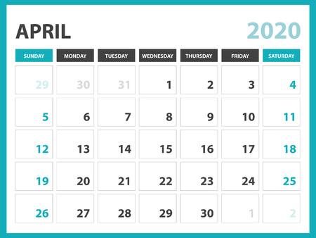 Desk calendar layout  Size 8 x 6 inch, April 2020 Calendar template, planner design, week starts on sunday, stationery design, vector Eps10