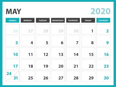 Desk calendar layout  Size 8 x 6 inch, May 2020 Calendar template, planner design, week starts on sunday, stationery design, vector Eps10
