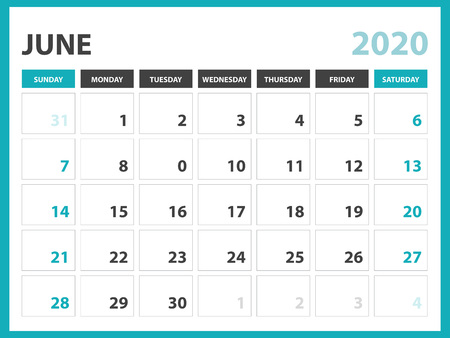 Desk calendar layout  Size 8 x 6 inch, June 2020 Calendar template, planner design, week starts on sunday, stationery design, vector Eps10 Standard-Bild - 120660312