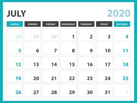 Desk calendar layout  Size 8 x 6 inch, July 2020 Calendar template, planner design, week starts on sunday, stationery design, vector Eps10 Standard-Bild - 120660315