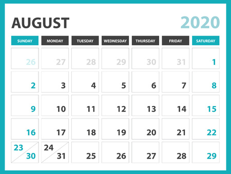 Disposition de calendrier de bureau Taille 8 x 6 pouces, modèle de calendrier de février 2020, conception de planificateur, la semaine commence le dimanche, conception de papeterie, vecteur Eps10