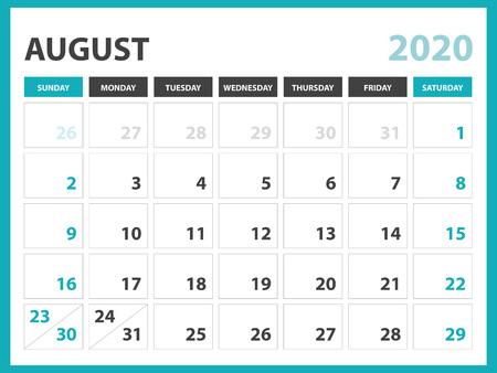 Layout del calendario da tavolo Dimensioni 8 x 6 pollici, modello di calendario febbraio 2020, design del pianificatore, inizio settimana di domenica, design di cancelleria, vettore Eps10