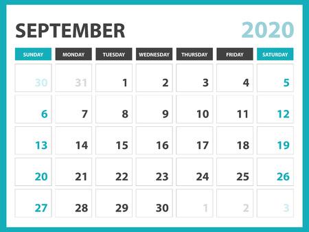 Desk calendar layout  Size 8 x 6 inch, September 2020 Calendar template, planner design, week starts on sunday, stationery design, vector Eps10 Ilustração
