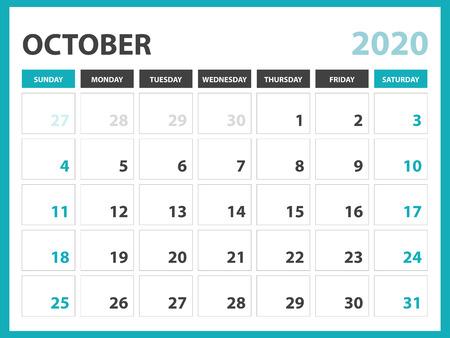 Desk calendar layout  Size 8 x 6 inch, October 2020 Calendar template, planner design, week starts on sunday, stationery design, vector Eps10