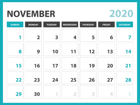 Desk calendar layout  Size 8 x 6 inch, November 2020 Calendar template, planner design, week starts on sunday, stationery design, vector Eps10