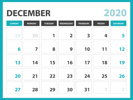 Desk calendar layout  Size 8 x 6 inch, December 2020 Calendar template, planner design, week starts on sunday, stationery design, vector Eps10