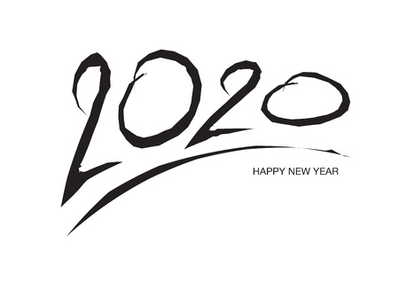 2020 text design Black color, Collection of Happy New Year and happy holidays, lettering design element, handwritten isolated on white background. Calendar 2020 Standard-Bild - 123771072