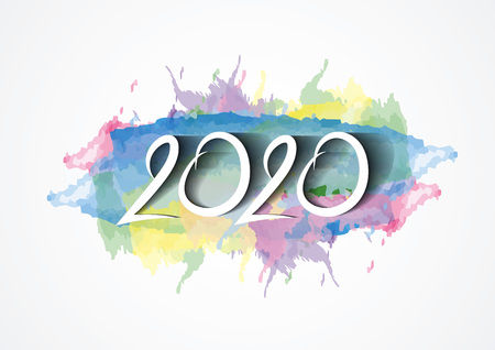 2020 text design and colorful brushstroke with Frame, Collection of Happy New Year and happy holidays, Calendar 2020 cover template, vector illustration