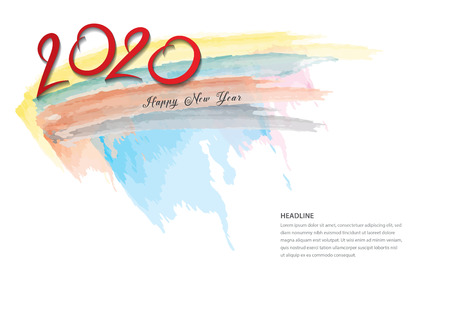 2020 text design and colorful brushstroke, Collection of Happy New Year and happy holidays, Calendar 2020 cover template, Banner design, Magazine page, flyer, vector illustration Standard-Bild - 123771086