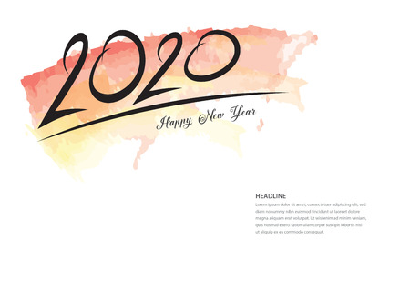 2020 text design and colorful brushstroke, Collection of Happy New Year and happy holidays, Calendar 2020 cover template, Banner design, Magazine page, flyer, vector illustration Standard-Bild - 123771087