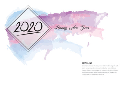 2020 text design and colorful brushstroke, Collection of Happy New Year and happy holidays, Calendar 2020 cover template, Banner design, Magazine page, flyer, vector illustration Standard-Bild - 123771088