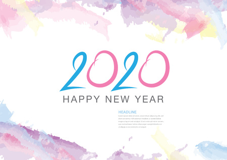 2020 text design and colorful brushstroke, Collection of Happy New Year and happy holidays, Calendar 2020 cover template, Banner design, Magazine page, flyer, vector illustration