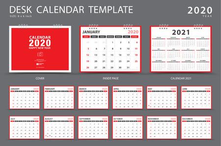 Calendario 2020, modello di calendario da tavolo, set di 12 mesi, pianificatore, inizio settimana di domenica, design di cancelleria, pubblicità, layout vettoriale, design di copertina rossa, volantino opuscolo aziendale