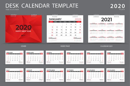 Calendrier 2020, modèle de calendrier de bureau, ensemble de 12 mois, planificateur, la semaine commence le dimanche, conception de papeterie, publicité, mise en page vectorielle, conception de couverture rouge, dépliant de brochure d'entreprise