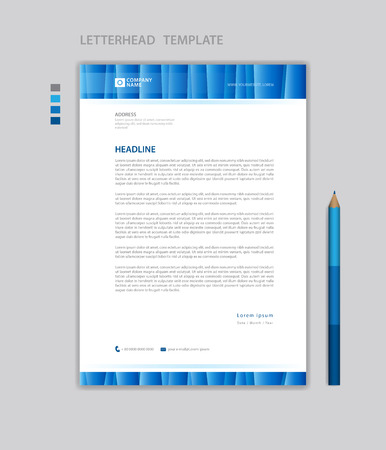 Letterhead template vector, minimalist style, printing design, business advertisement layout, Blue concept background Standard-Bild - 123012383