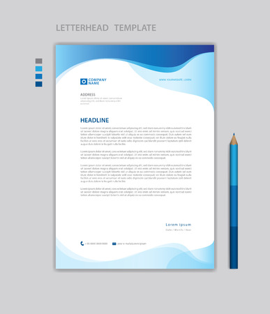 Letterhead template vector, minimalist style, printing design, business advertisement layout, Blue concept background Standard-Bild - 123012385