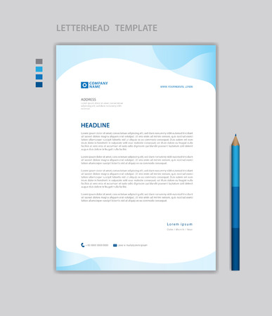 Briefkopf-Vorlagenvektor, minimalistischer Stil, Druckdesign, Geschäftswerbelayout, blauer Konzepthintergrund