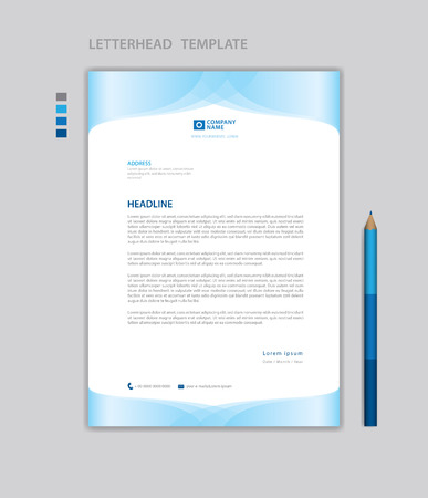 Letterhead template vector, minimalist style, printing design, business advertisement layout, Blue concept background Standard-Bild - 123012387