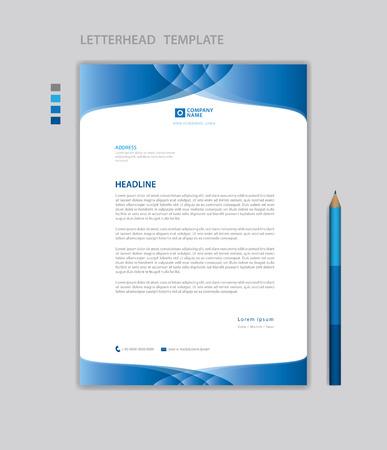 Letterhead template vector, minimalist style, printing design, business advertisement layout, Blue concept background Standard-Bild - 123012388
