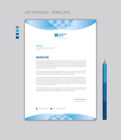 Letterhead template vector, minimalist style, printing design, business advertisement layout, Blue concept background Standard-Bild - 123012389