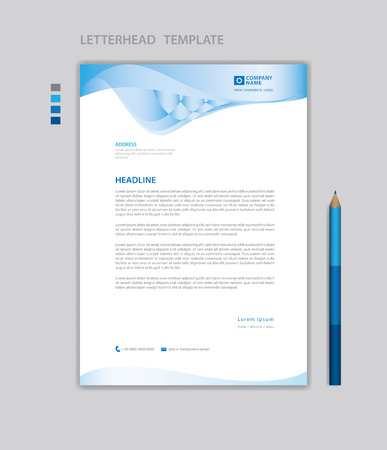 Letterhead template vector, minimalist style, printing design, business advertisement layout, Blue concept background Standard-Bild - 123012391