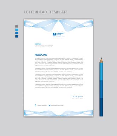 Letterhead template vector, minimalist style, printing design, business advertisement layout, Blue concept background Standard-Bild - 123012393