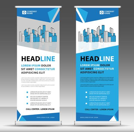 Roll up banner template stand design for advertisement business, modern creative concept vector