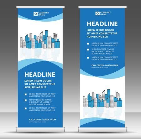 Roll-up-Banner-Vorlagen-Standdesign für Werbegeschäft, moderner kreativer Konzeptvektor
