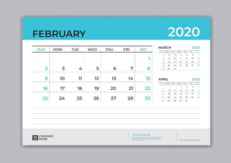FEBRUARY 2020 template, Desk Calendar for 2020 year, week start on sunday, planner design, stationery, business printing, vector