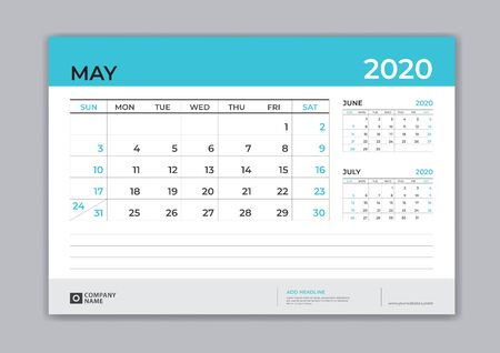 May 2020 template, Desk Calendar for 2020 year, week start on sunday, planner design, stationery, business printing, vector