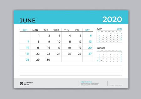 JUNE 2020 template, Desk Calendar for 2020 year, week start on sunday, planner design, stationery, business printing, vector Çizim