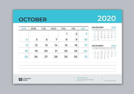 OCTOBER 2020 template, Desk Calendar for 2020 year, week start on sunday, planner design, stationery, business printing, vector Stok Fotoğraf - 127962462