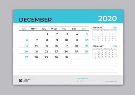 DECEMBER 2020 template, Desk Calendar for 2020 year, week start on sunday, planner design, stationery, business printing, vector Çizim